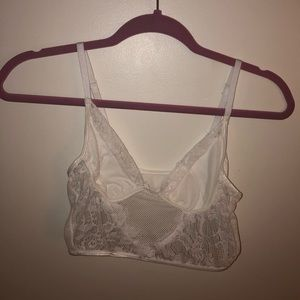 White lace and mesh crop top.